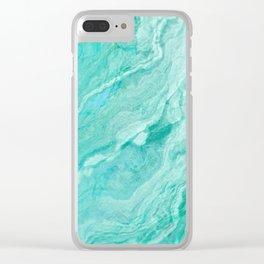 Azure agate mineral gem stone Clear iPhone Case
