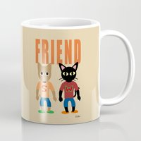best friend Mugs featuring Friend by BATKEI (Keiko W)
