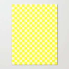 Cream Yellow and Electric Yellow Checkerboard Canvas Print