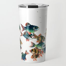 Barb Fish, Aquatic Blue Turquoise Underwater Scene Travel Mug