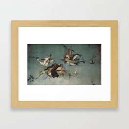Hieronymus Bosch flying ships and creatures Framed Art Print