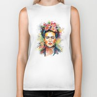hello Biker Tanks featuring Frida Kahlo by Tracie Andrews