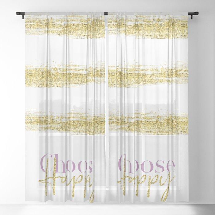 Text Art Choose Happy White Gold Sheer Curtain By Melanieviola