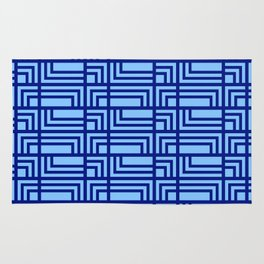 Blue Ocean Pattern | Sea | Geometric | Greece Inspired | Square Shapes | Art Deco | For Him Rug