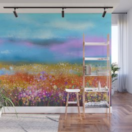 Cute Yellow and red wild flowers under blue sky Wall Mural