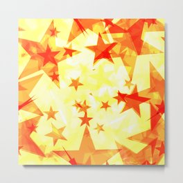 Glowing red and yellow stars on a light background in projection and with depth. Metal Print