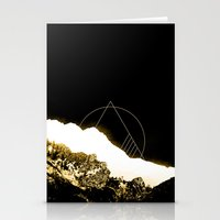snowboard Stationery Cards featuring Golden Mountain by Schwebewesen • Romina Lutz