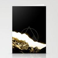 snowboarding Stationery Cards featuring Golden Mountain by Schwebewesen • Romina Lutz