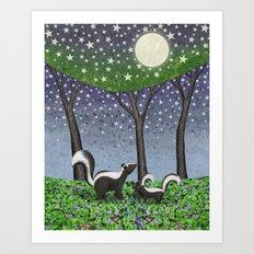 starlit striped skunks Art Print