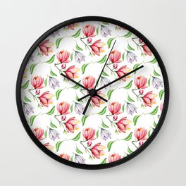 Elegant modern hand painted pink lilac watercolor magnolia floral Wall Clock