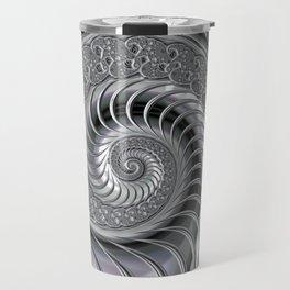 Shiny Silver Stainless Steel Fractal Swirl Travel Mug