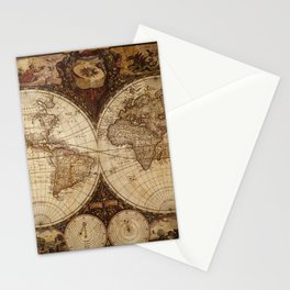 Vintage Map of the World Stationery Cards