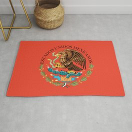 Mexican National Coat of Arms & Seal on Adobe Red Rug