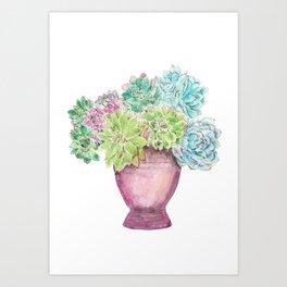 succulent in a pot watercolor Art Print