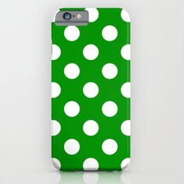 Islamic green - green - White Polka Dots - Pois Pattern iPhone Case
