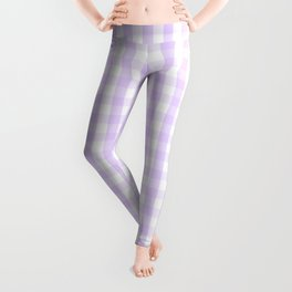 Chalky Pale Lilac Pastel and White Gingham Check Plaid Leggings