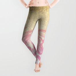 Pink white faux gold glitter modern marble Leggings
