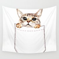 pocket Wall Tapestries featuring Pocket cat by Anna Shell