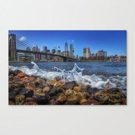 NYC Brooklyn Bridge Park Manhattan Bridge Illustration Oil Painting Graphic Art Decor New York City Canvas Print