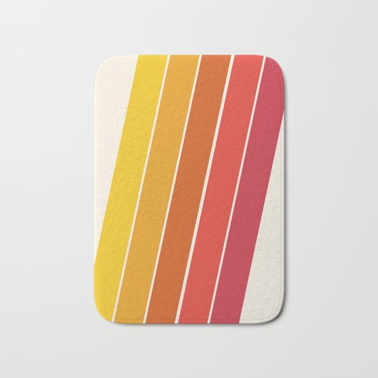 Cool Beans - 70's retro throwback art stripes motif decor hipster Bath Mat