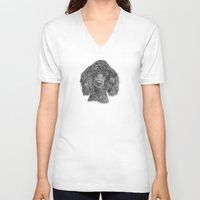 poodle V-neck T-shirts featuring Poodle - black by Doggyshop