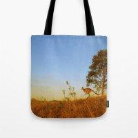 kangaroo Tote Bags featuring Kangaroo  by Pippa Selby