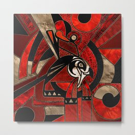 Egyptian Horus Geometric Red Mix Metal Print