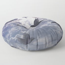 crows in the stormy sky Floor Pillow