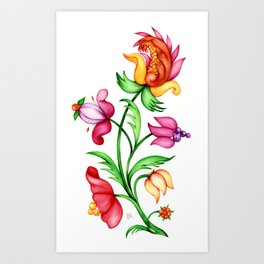 Elegant bright blooming multicolored flower with flourish branches, isolated on a white background Art Print