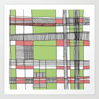 Grid 2 Pink and Green Art Print