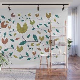 Stylized Flowers Entwine Wall Mural
