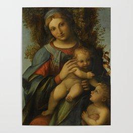 "Antonio Allegri da Correggio ""Madonna and Child with infant Saint John the Baptist"" Poster"