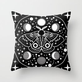 Moth in the Moon Light Throw Pillow