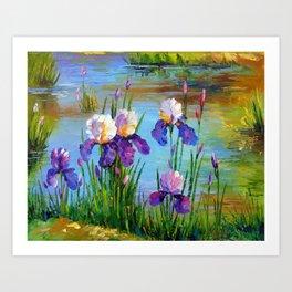 Irises at the pond Art Print