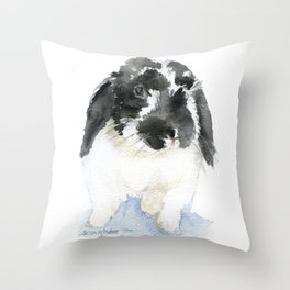 Black and White Bunny Rabbit Watercolor Throw Pillow