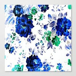 ROSES BLUE VINTAGE PATTERN Canvas Print