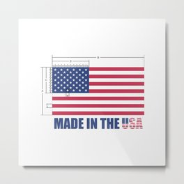 Made In the USA US Flag - Stars and Stripes Metal Print
