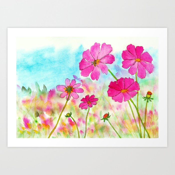 Symphony In Pink, Watercolor Wildflowers Kunstdrucke