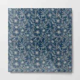 indigo bloom // repeat pattern Metal Print
