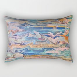 Blue Patchwork Rectangular Pillow