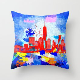 NYC Grunge Skyline Throw Pillow