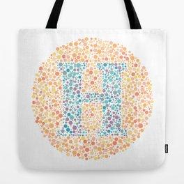 """H"" Eye Test Letter Circle Tote Bag"
