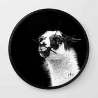 lama Wall Clocks featuring Lama by art9