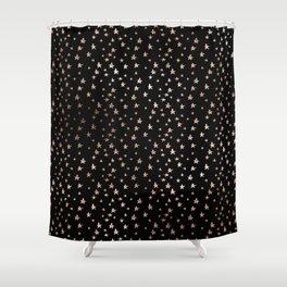 Black & Rose Gold Star Pattern Shower Curtain