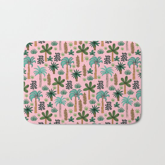 Tropics palm trees pattern print summer tropical vacation design by andrea lauren Bath Mat