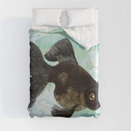 Black Goldfish Duvet Cover