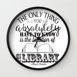 Location of the Library B&W Wall Clock
