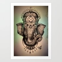 ganesha Art Prints featuring Ganesha by Morgan Soto