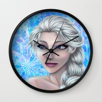 frozen elsa Wall Clocks featuring Elsa by Kimberly Castello
