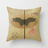 da vinci Throw Pillows featuring Leonardo da Vinci by Eva Nev